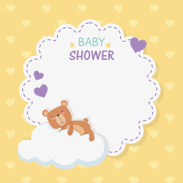 Baby shower lace card with little bear teddy in cloud Free Vector
