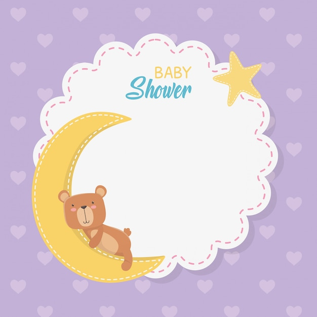 Baby shower lace card with little bear teddy with moon Free Vector