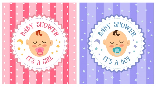 Baby shower party invitation template set Premium Vector