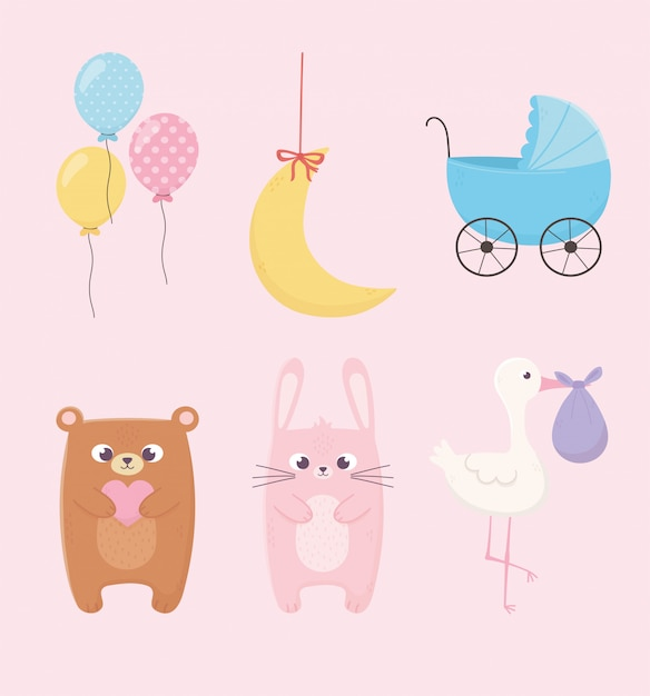 Baby shower, pink rabbit teddy bear pram stork balloons and moon icons Premium Vector