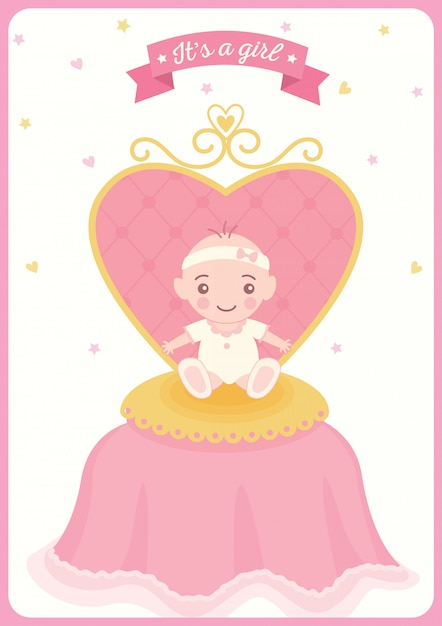 Baby shower princess gril chair Premium Vector