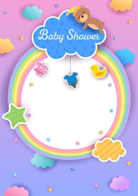 Baby shower rainbow frame Premium Vector