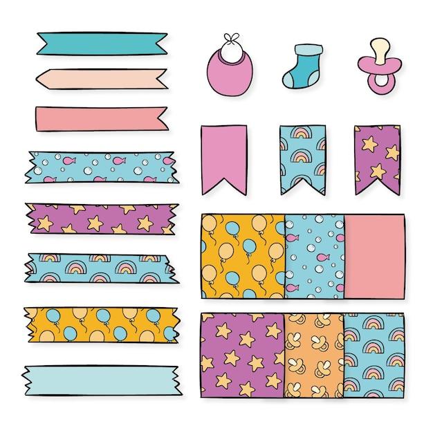 Collezione di elementi di baby shower scrapbook Vettore gratuito