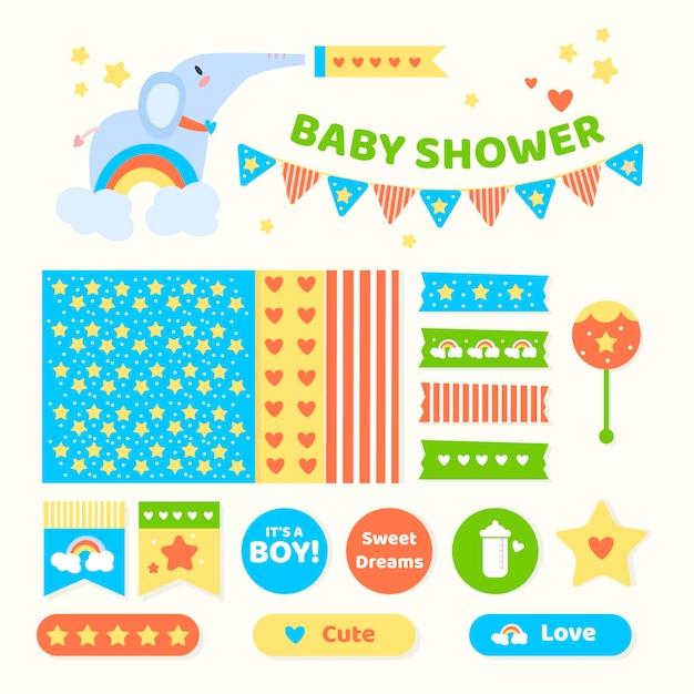 Set di album per baby shower Vettore gratuito