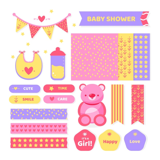 Set di album per baby shower Vettore gratuito