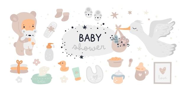 Набор для детского душа. новая коллекция предметов первой необходимости. детские товары must have Premium векторы