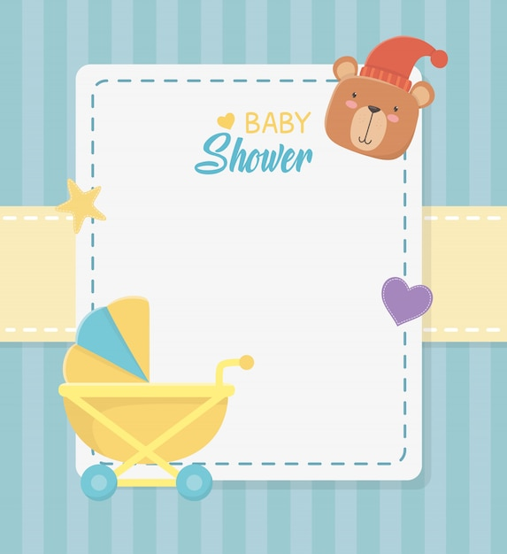 Baby shower square card with little bear teddy and baby cart Free Vector