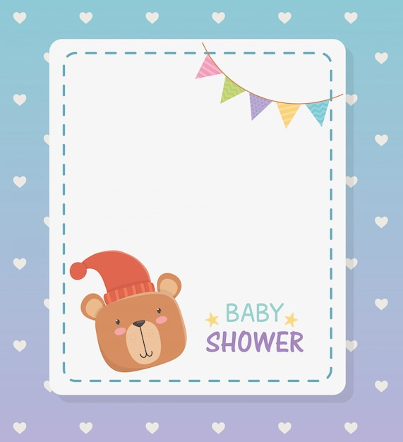 Baby shower square card with little bear teddy and garlands Free Vector
