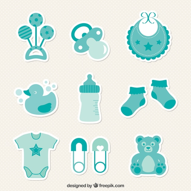 baby shower stickers vector free download