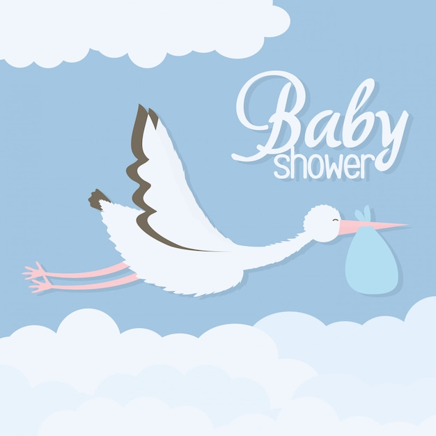 Baby shower. stork bird flying with bag Free Vector