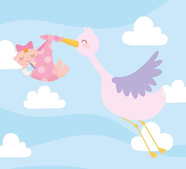 Baby shower, stork carrying baby girl in blanket, celebration welcome newborn Premium Vector