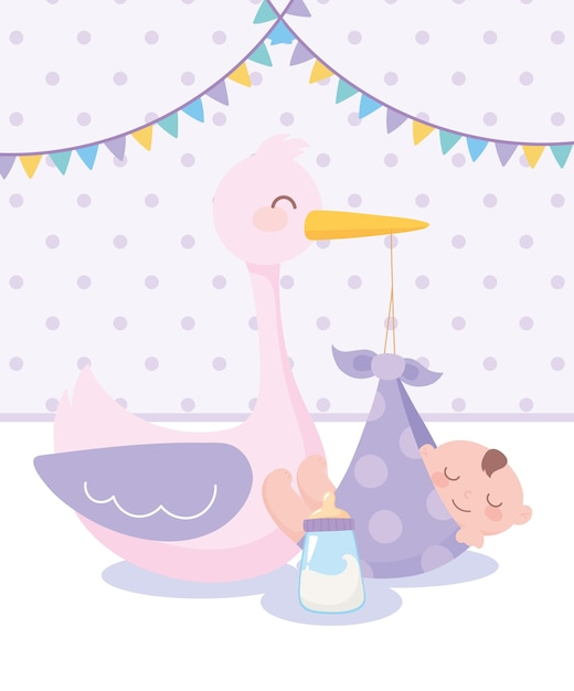 Baby shower, stork and little boy in blanket and bottle milk, celebration welcome newborn Premium Vector