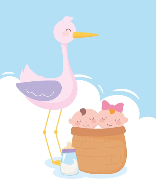 Baby shower, stork with babies in basket and bottle milk, celebration welcome newborn Premium Vector