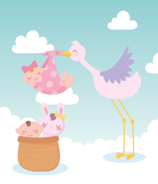 Baby shower, stork with baby girl and little boy and rabbit in basket, celebration welcome newborn Premium Vector