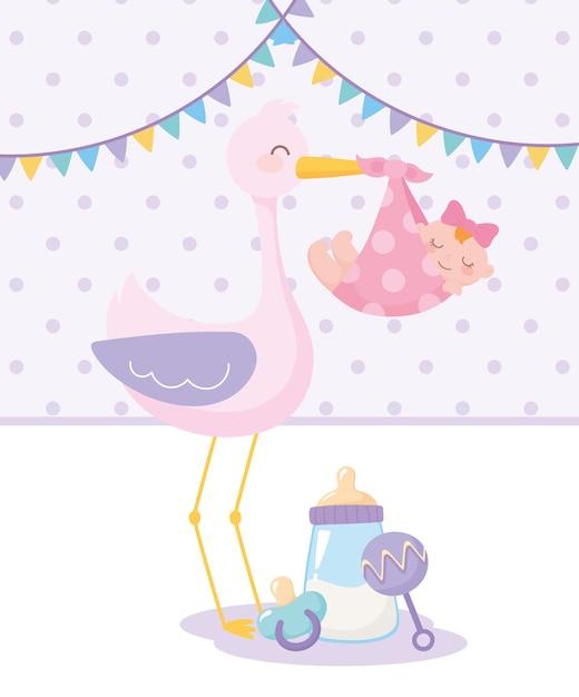 ベビーシャワー、赤ちゃん女の子のガラガラとおしゃぶりを持つコウノトリ、お祝い歓迎新生児 Premiumベクター