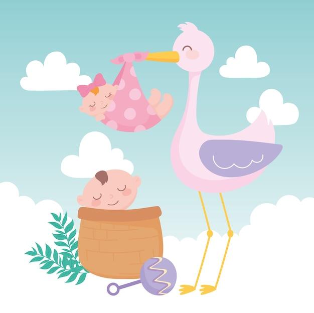 Baby shower, stork with girl and boy in basket cartoon, celebration welcome newborn Premium Vector