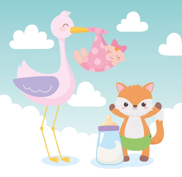 Baby shower, stork with little girl and fox cartoon, celebration welcome newborn Premium Vector