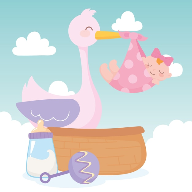 Baby shower, stork with little girl rattle and basket, celebration welcome newborn Premium Vector