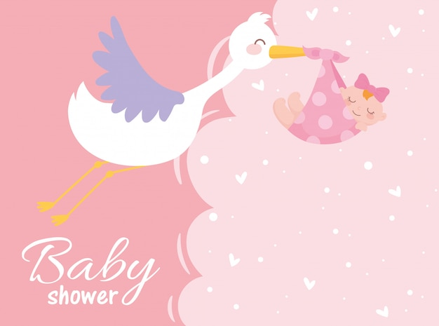 Baby shower, stork with little girl welcome newborn celebration card Premium Vector