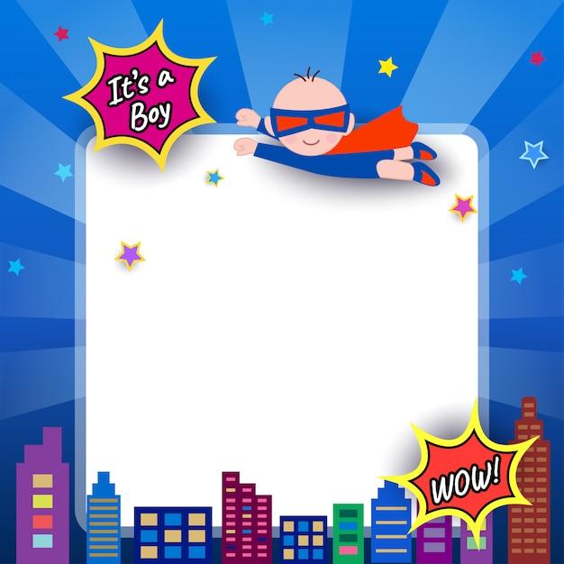 Baby-shower-super-hero Premium Vector
