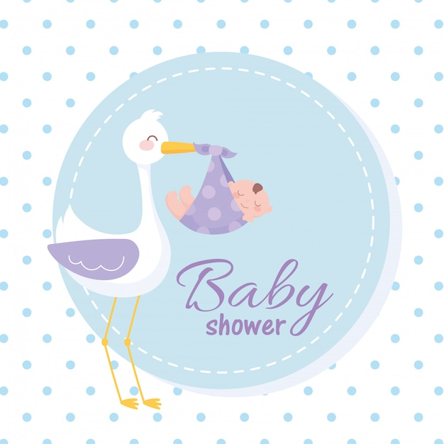 Baby shower tag, stork carrying a little boy, welcome newborn celebration tag Premium Vector