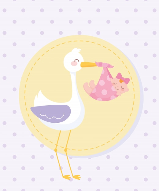 Baby shower tag , stork with little girl in blanket Premium Vector