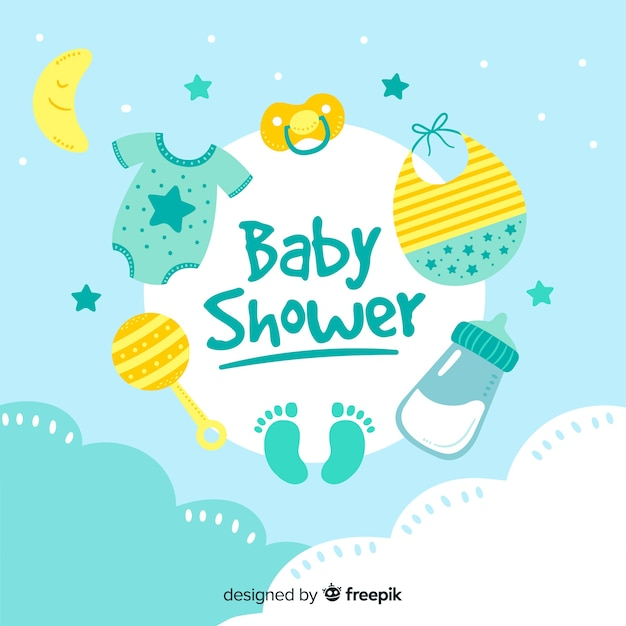 Baby shower template for boy Free Vector
