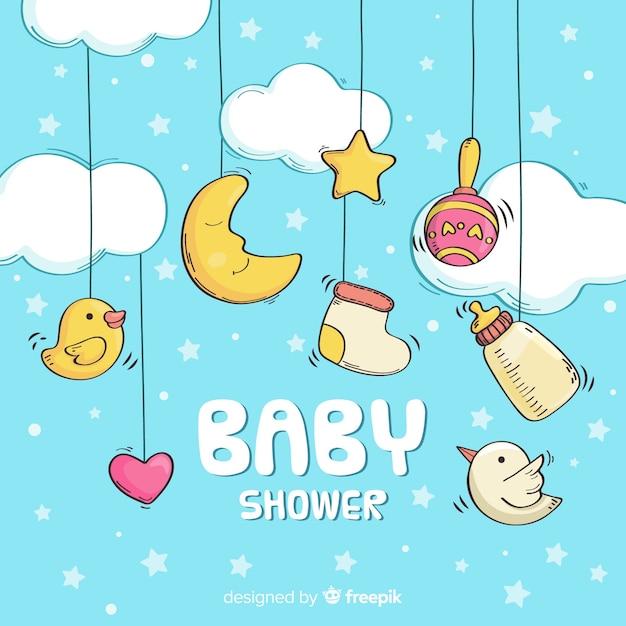 Детский душ шаблон для мальчика Premium векторы