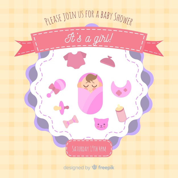 Baby shower template for girl Free Vector