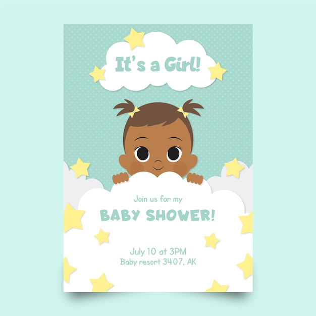 女の子のためのベビーシャワーテンプレート招待状 無料ベクター