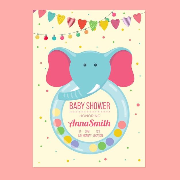 Baby shower template invitation for girl design Free Vector