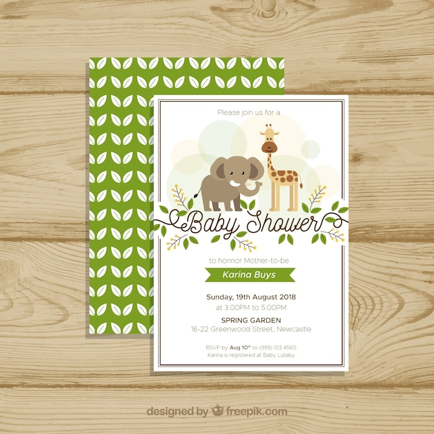 Baby shower template with animals