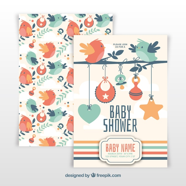 Baby shower template with birds