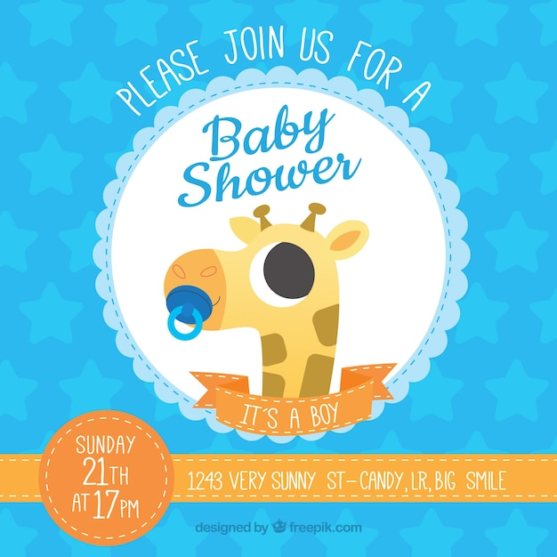 Baby shower template with giraffe