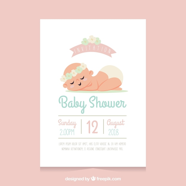 Baby shower template with sleeping baby