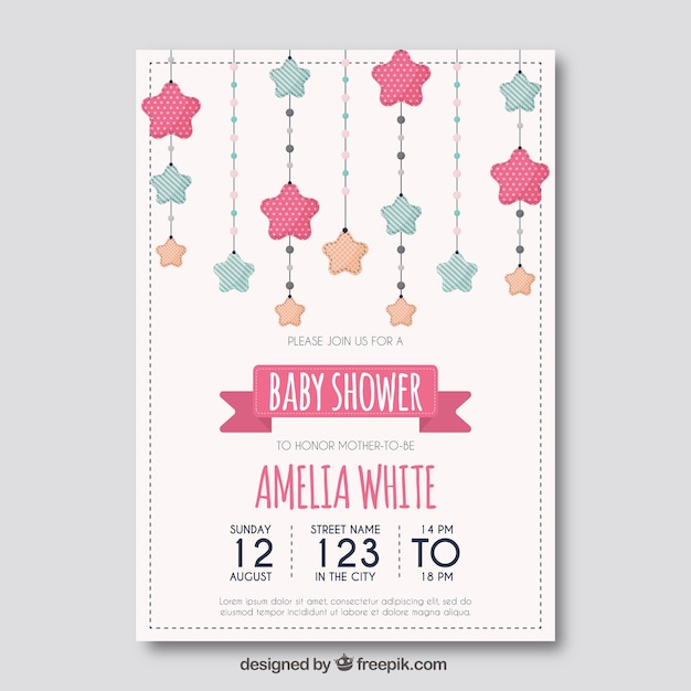 Baby Shower Template With Stars Free Vector