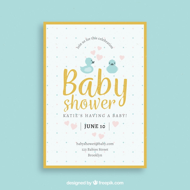 Baby shower template with yellow border