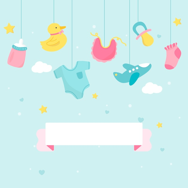 Baby shower theme copy space Free Vector