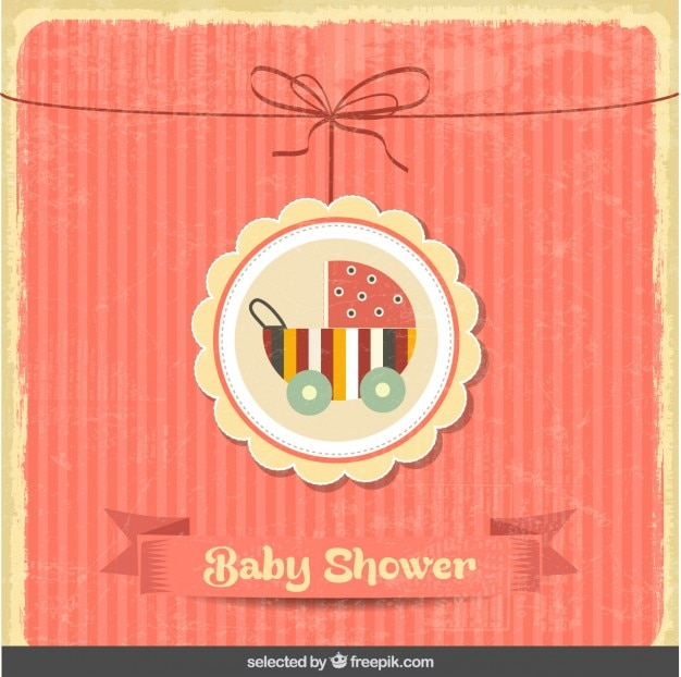 Baby shower vintage card with baby\ stroller