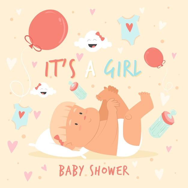 Baby shower with baby and balloons Free Vector
