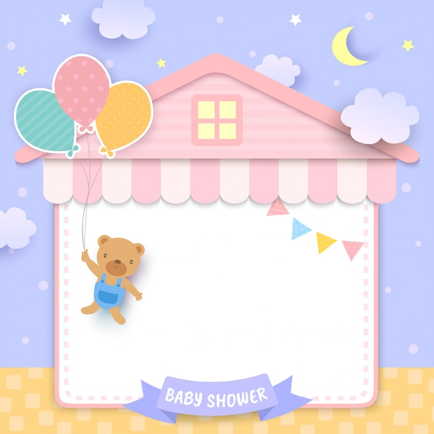 Baby shower with bear holding balloons and house frame Premium Vector