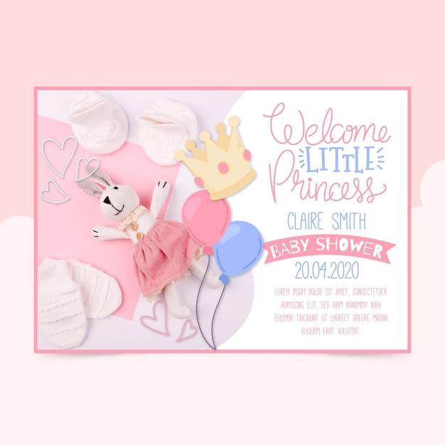 Шаблон приглашения baby shower с фото (девушка) Бесплатные векторы
