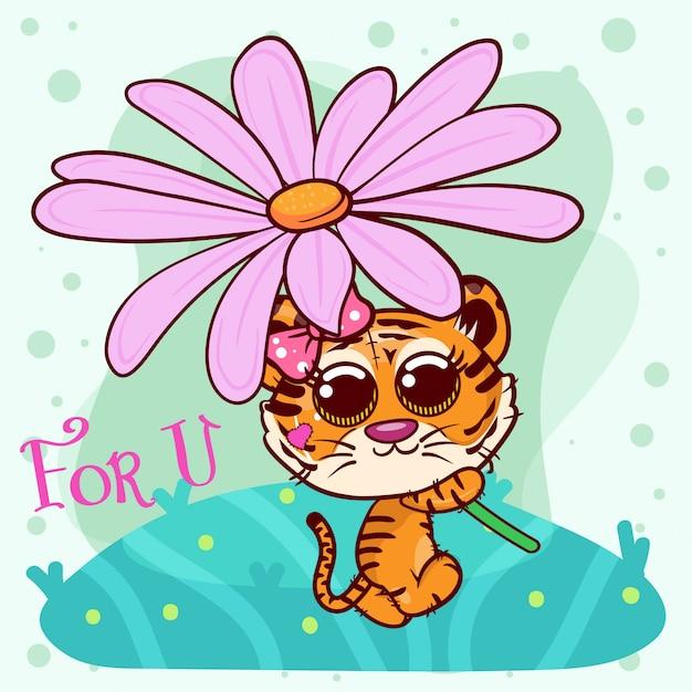 Baby shower поздравительная открытка с милой девушкой мультяшный тигр - вектор Premium векторы