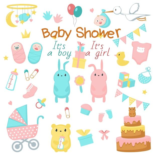 Baby showericon set Premium Vector