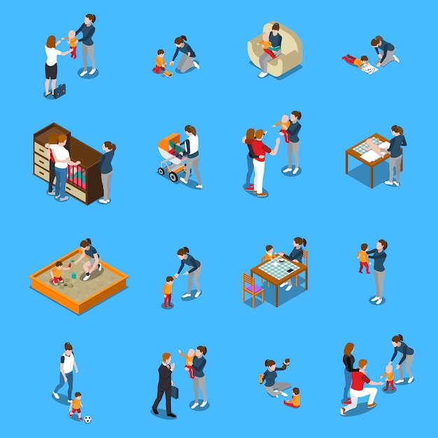 Baby sitter isometric people Free Vector