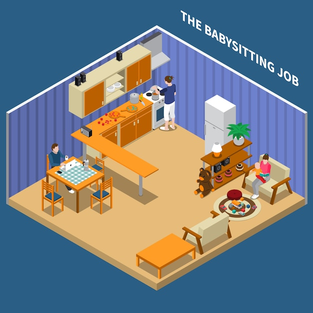 Baby sitting job isometric composition Free Vector