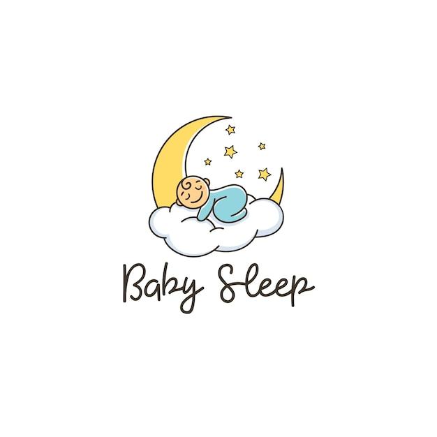 baby sleep cloud moon stars comfort logo vector