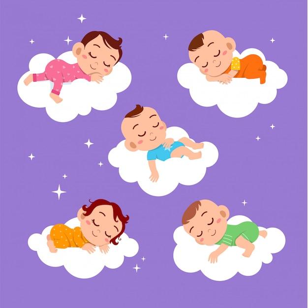 Baby sleep on cloud set Premium Vector