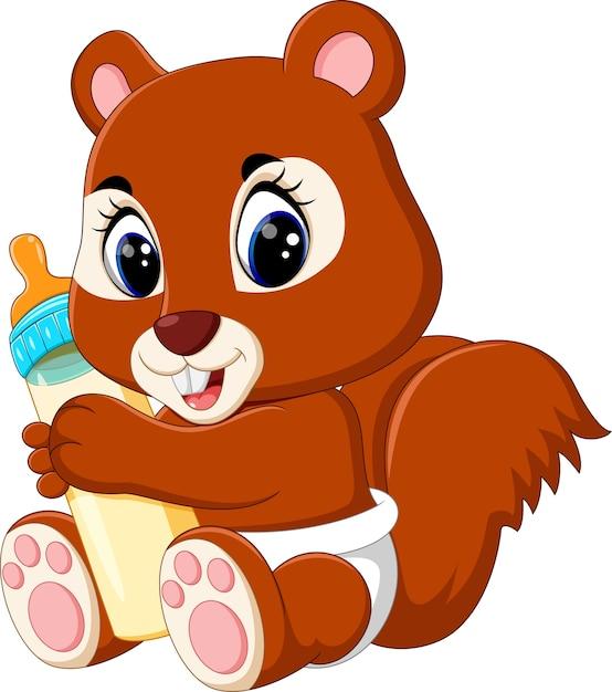 Baby Squirrel Holding Milk Bottle Premium Vector
