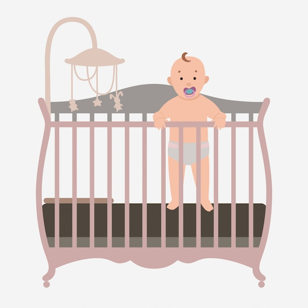 Baby standing is in the crib Premium Vector